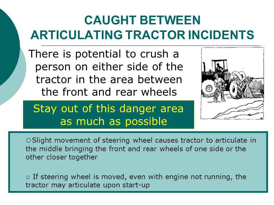CAUGHT BETWEEN ARTICULATING TRACTOR INCIDENTS