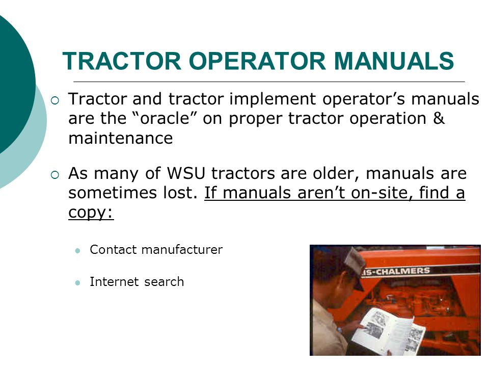 TRACTOR OPERATOR MANUALS
