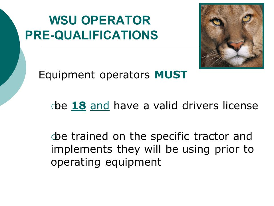 WSU OPERATOR PRE-QUALIFICATIONS