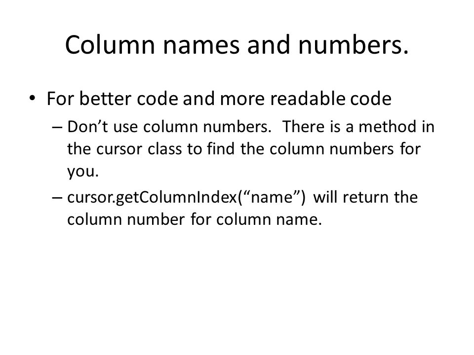 Column names and numbers.
