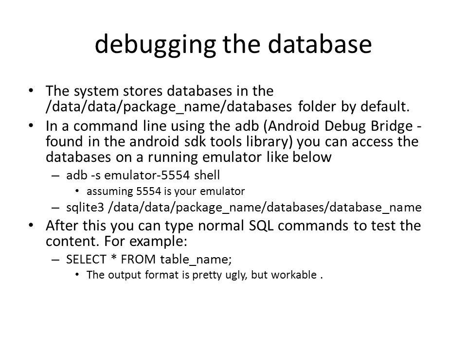 debugging the database
