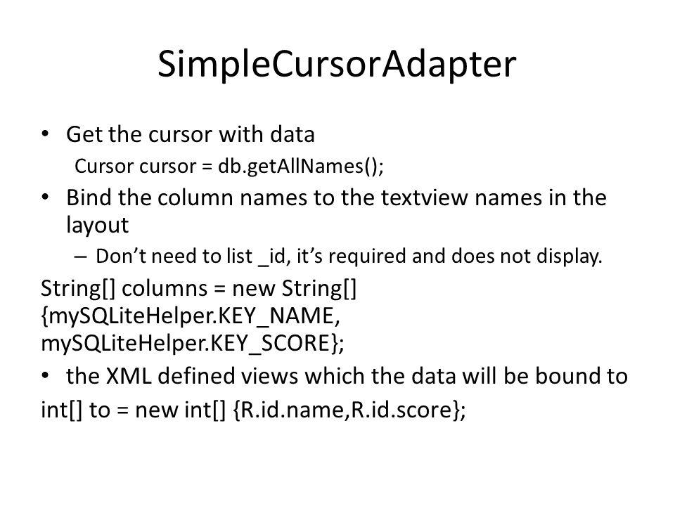 SimpleCursorAdapter Get the cursor with data