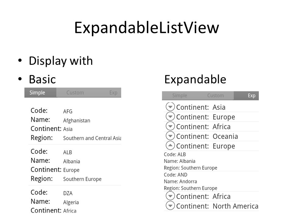 ExpandableListView Display with Basic Expandable