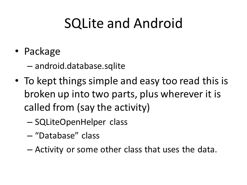 SQLite and Android Package