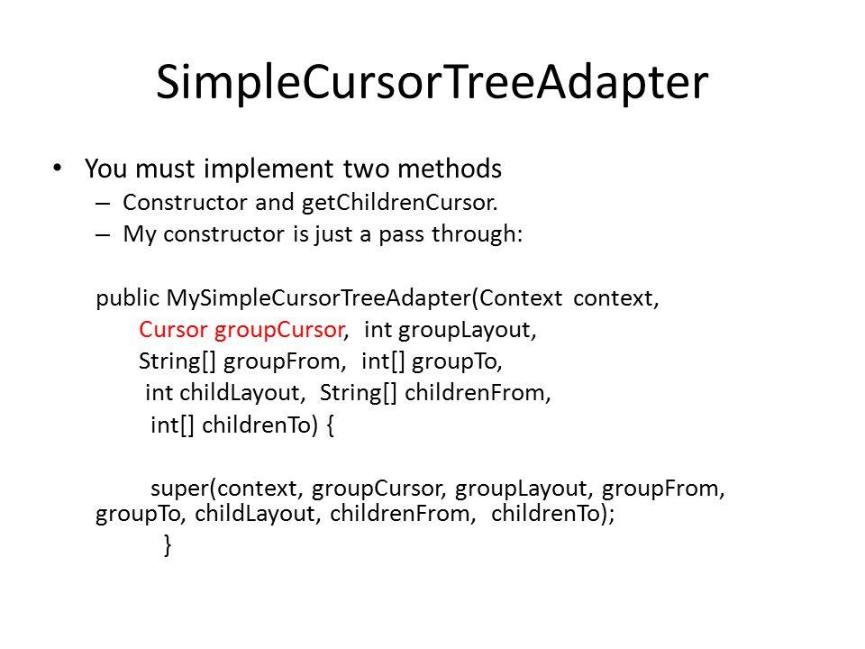 SimpleCursorTreeAdapter