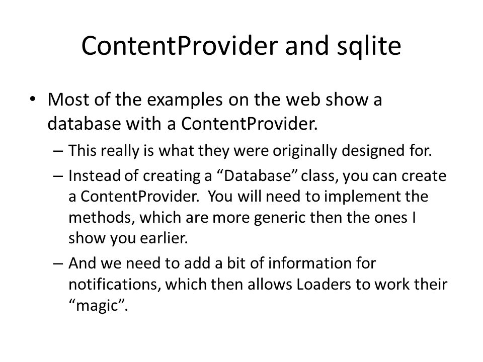 ContentProvider and sqlite