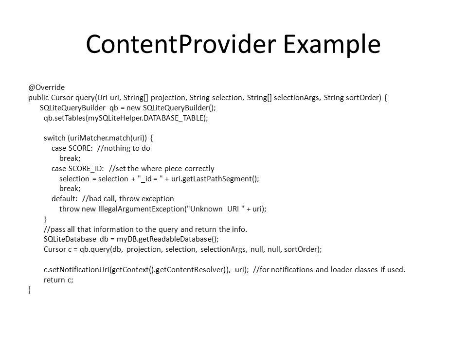 ContentProvider Example