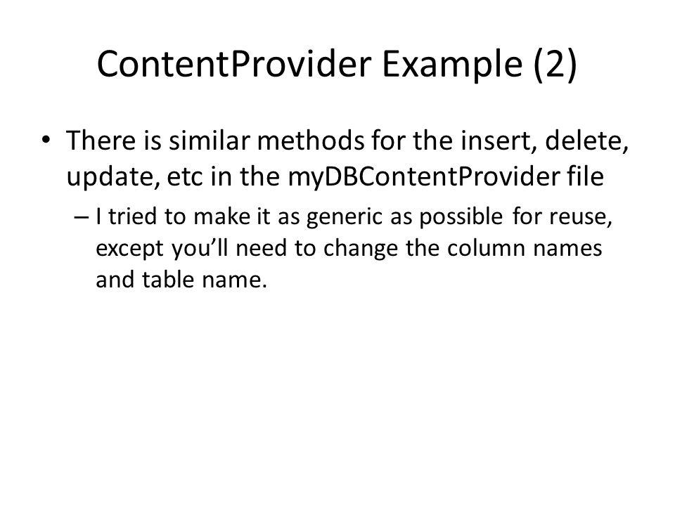 ContentProvider Example (2)
