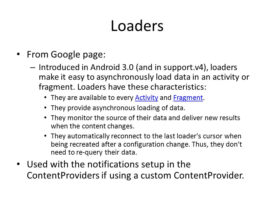 Loaders From Google page: