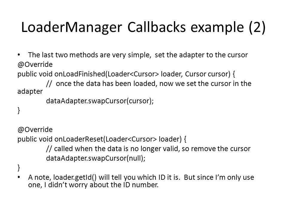 LoaderManager Callbacks example (2)