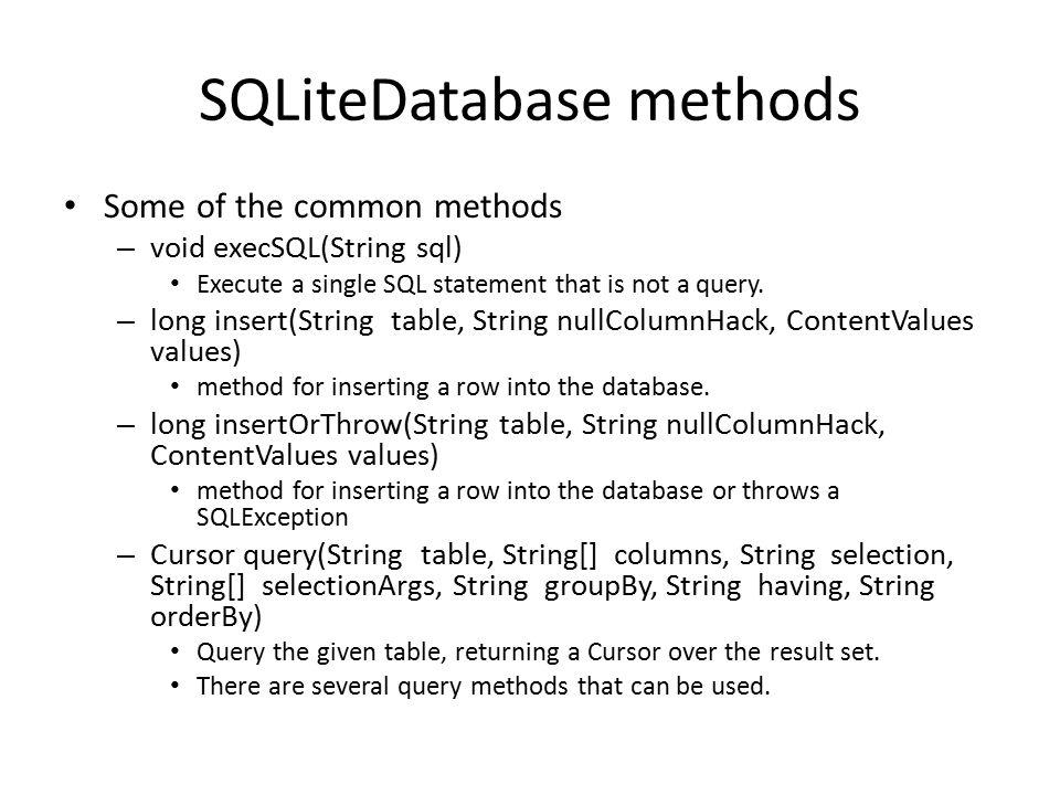 SQLiteDatabase methods