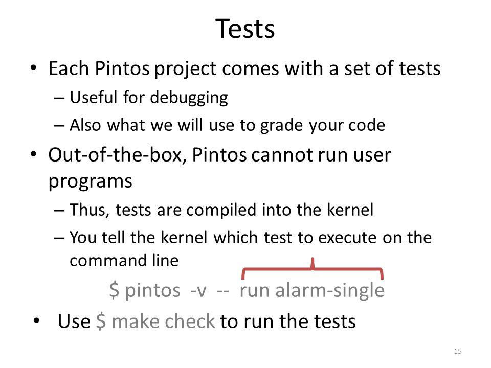 $ pintos -v -- run alarm-single
