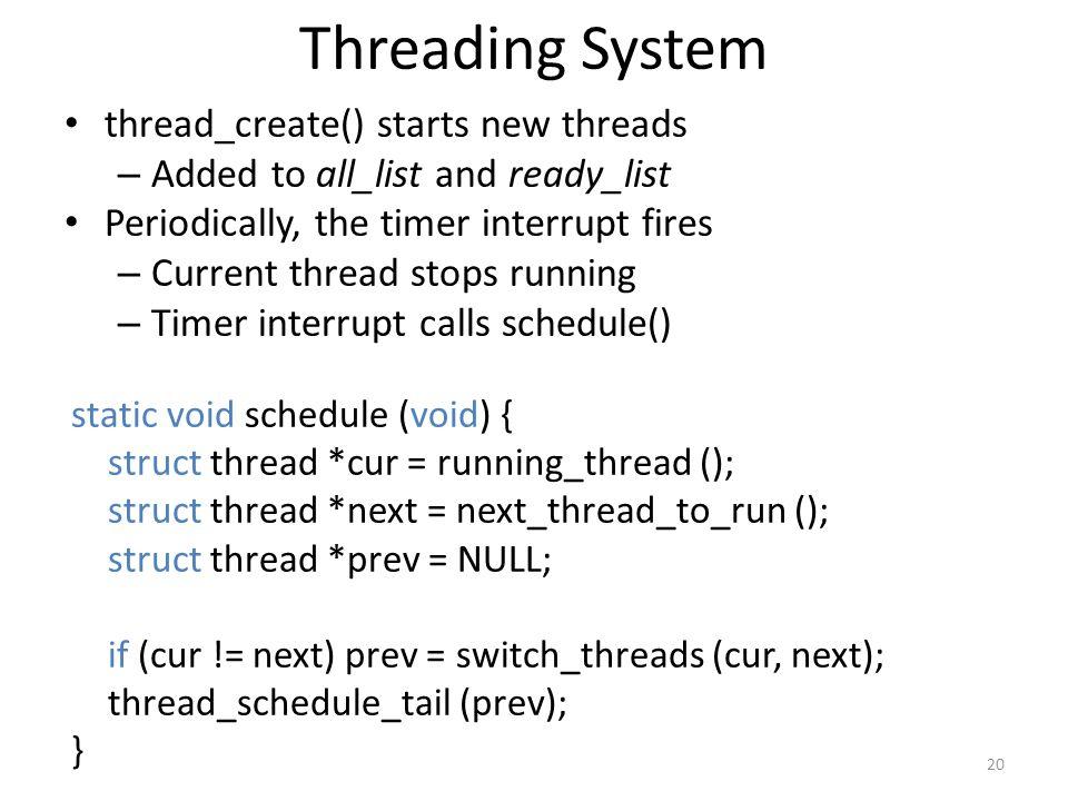 Threading System thread_create() starts new threads