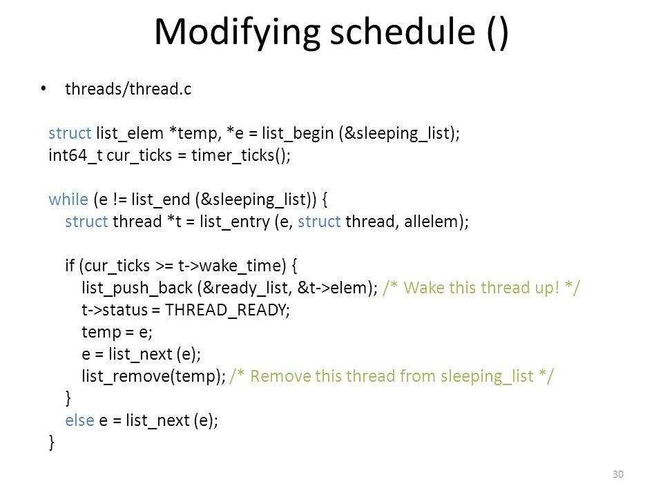 Modifying schedule () threads/thread.c
