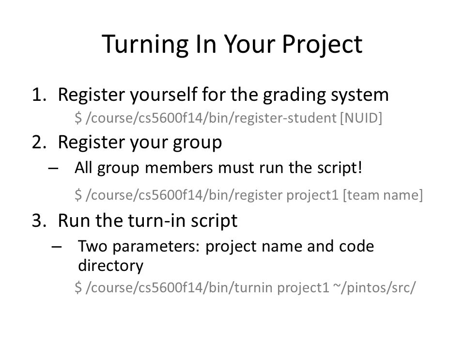 Turning In Your Project