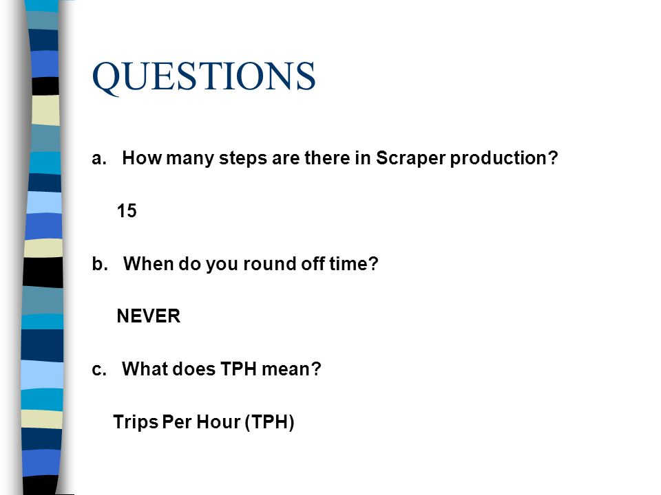 QUESTIONS a. How many steps are there in Scraper production 15