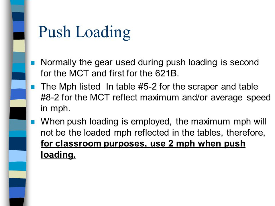 Push Loading Normally the gear used during push loading is second for the MCT and first for the 621B.