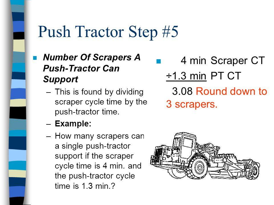 Push Tractor Step #5 4 min Scraper CT ÷1.3 min PT CT