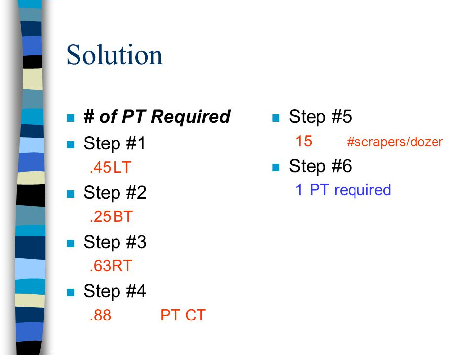 Solution # of PT Required Step #1 Step #2 Step #3 Step #4 Step #5