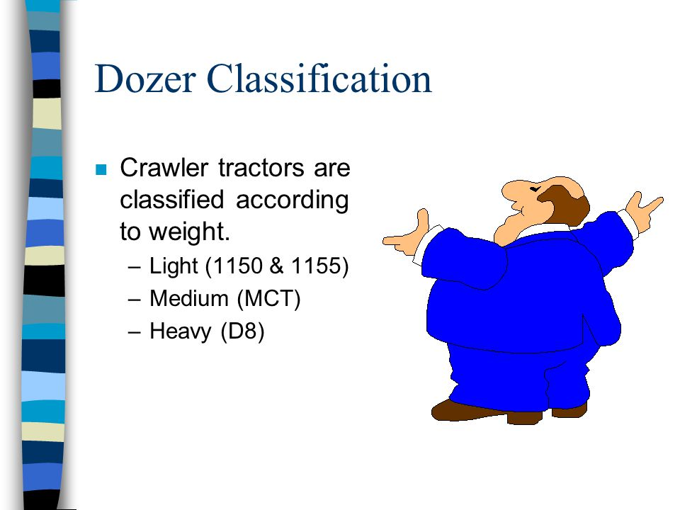 Dozer Classification Crawler tractors are classified according to weight. Light (1150 & 1155) Medium (MCT)