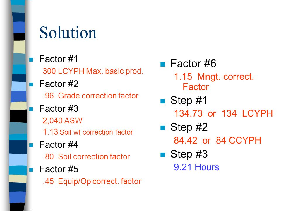 Solution Factor #6 Step #1 Step #2 Step #3 Factor #1 Factor #2