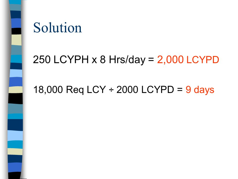 Solution 250 LCYPH x 8 Hrs/day = 2,000 LCYPD