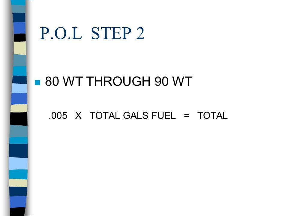 P.O.L STEP 2 80 WT THROUGH 90 WT .005 X TOTAL GALS FUEL = TOTAL GO
