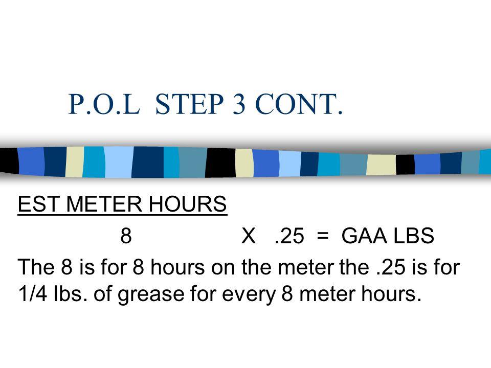 P.O.L STEP 3 CONT. EST METER HOURS 8 X .25 = GAA LBS