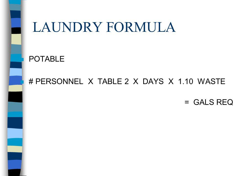 LAUNDRY FORMULA POTABLE # PERSONNEL X TABLE 2 X DAYS X 1.10 WASTE
