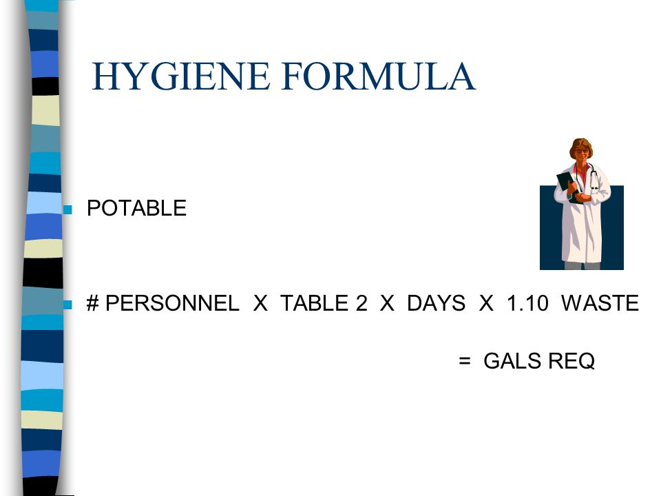HYGIENE FORMULA POTABLE # PERSONNEL X TABLE 2 X DAYS X 1.10 WASTE
