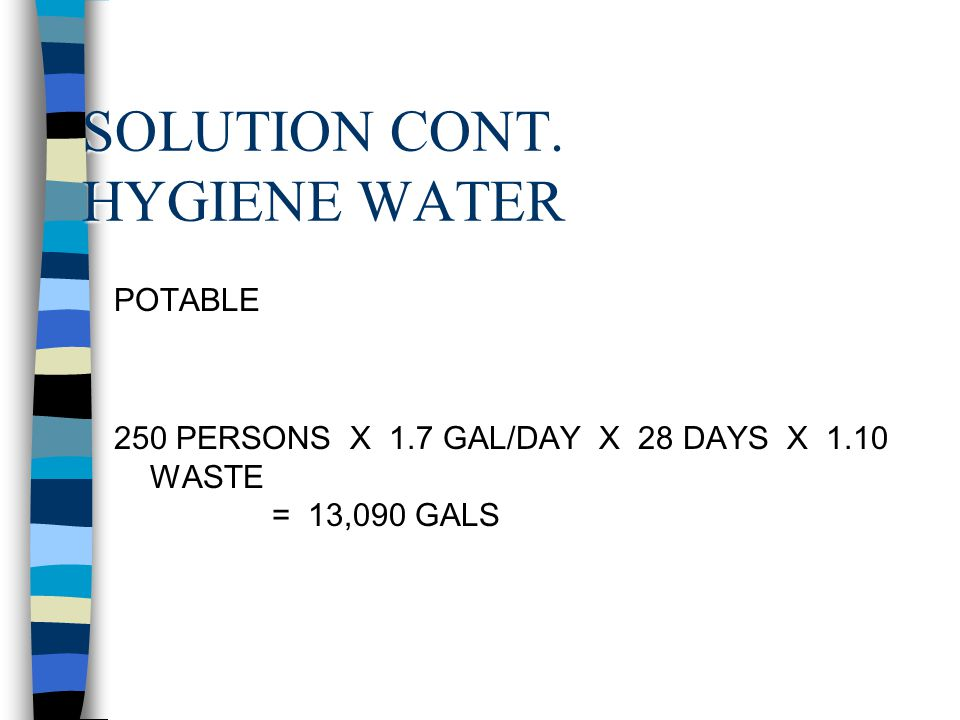 SOLUTION CONT. HYGIENE WATER