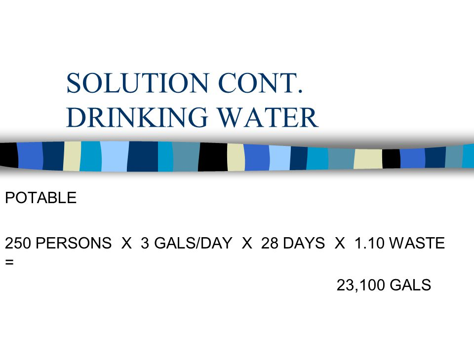 SOLUTION CONT. DRINKING WATER