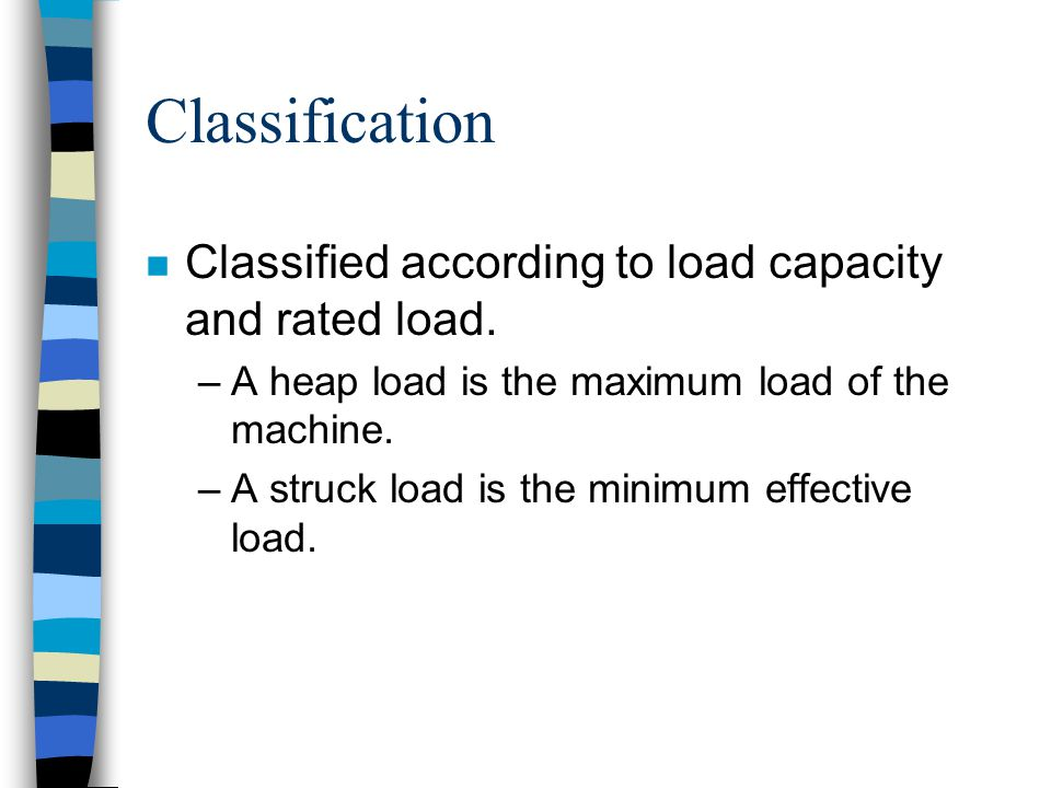 Classification Classified according to load capacity and rated load.