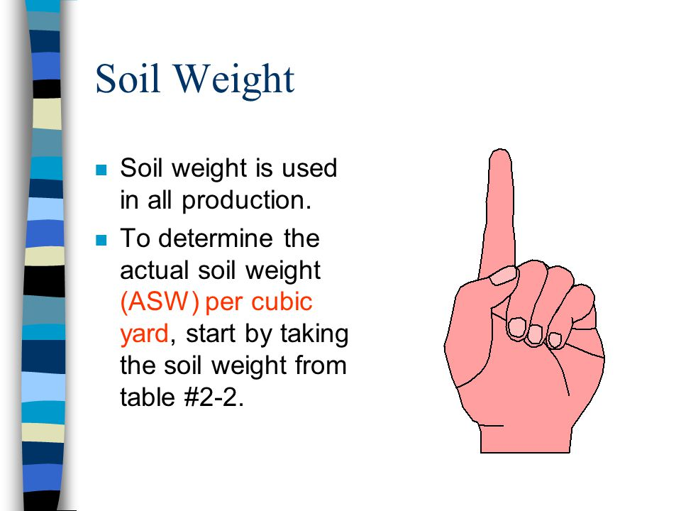 Soil Weight Soil weight is used in all production.