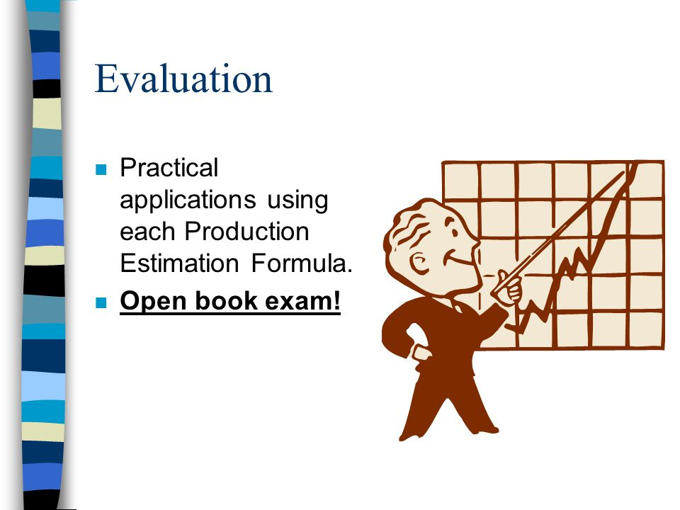 Evaluation Practical applications using each Production Estimation Formula. Open book exam!