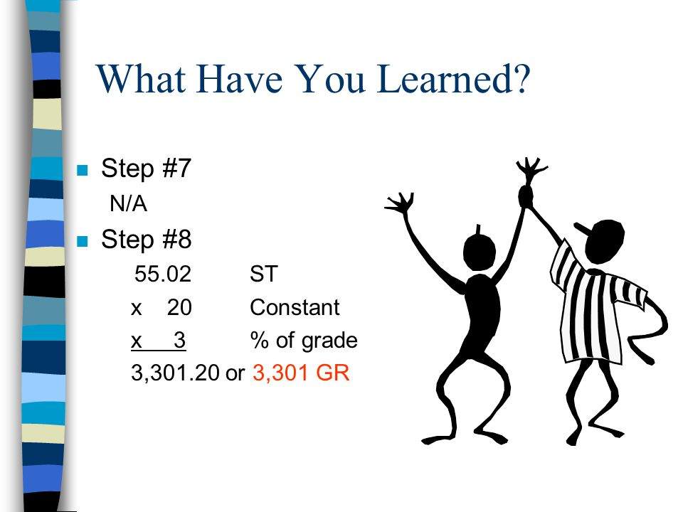 What Have You Learned Step #7 Step #8 N/A 55.02 ST x 20 Constant