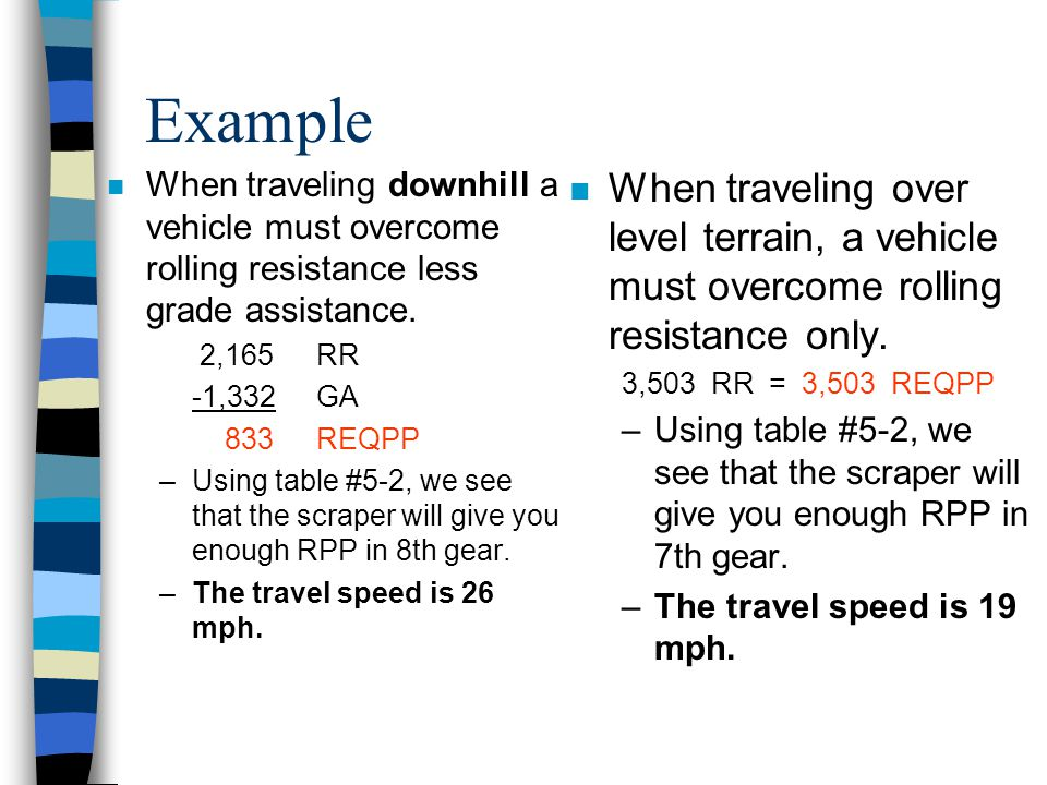 Example When traveling downhill a vehicle must overcome rolling resistance less grade assistance. 2,165 RR.