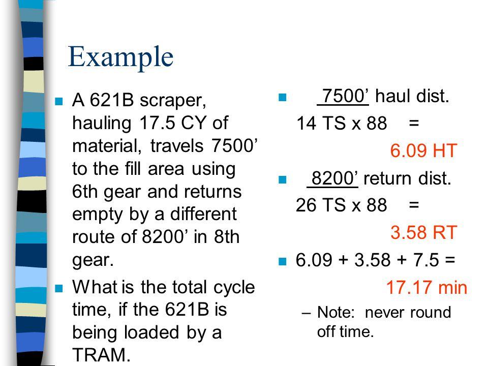 Example 7500' haul dist. 14 TS x 88 = 6.09 HT. 8200' return dist. 26 TS x 88 = 3.58 RT. 6.09 + 3.58 + 7.5 =