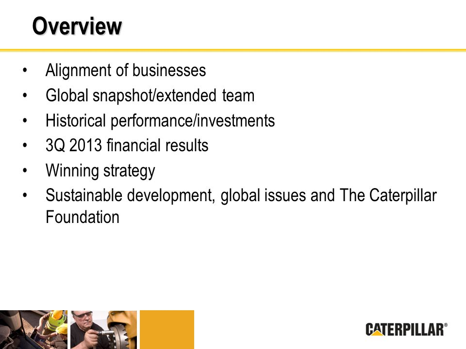 Overview Alignment of businesses Global snapshot/extended team