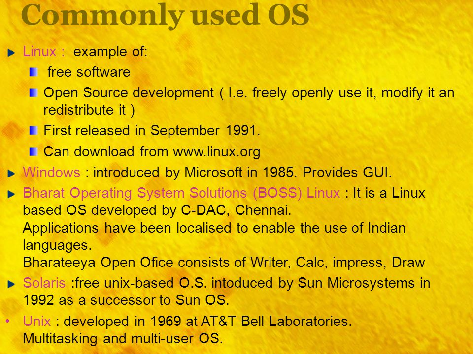 Commonly used OS Linux : example of: free software