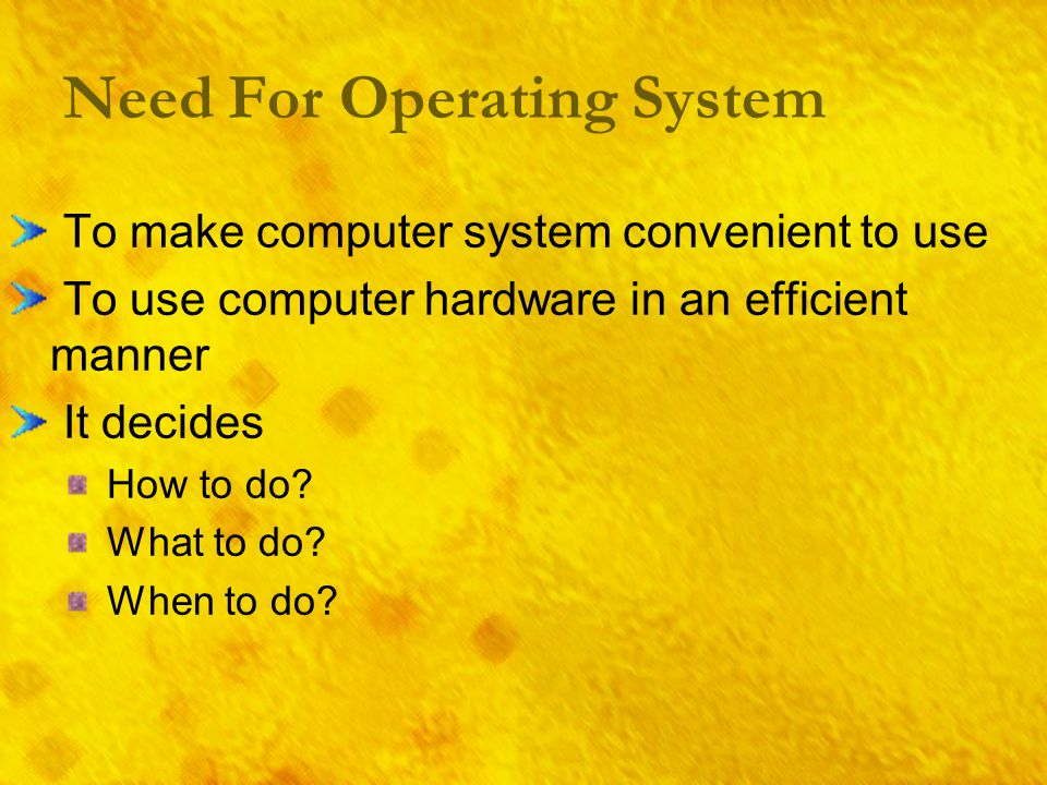 Need For Operating System