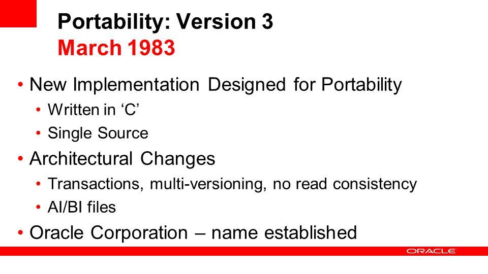 Portability: Version 3 March 1983