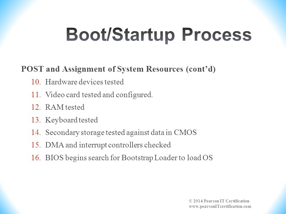Boot/Startup Process POST and Assignment of System Resources (cont'd)