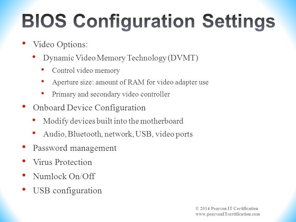 BIOS Configuration Settings