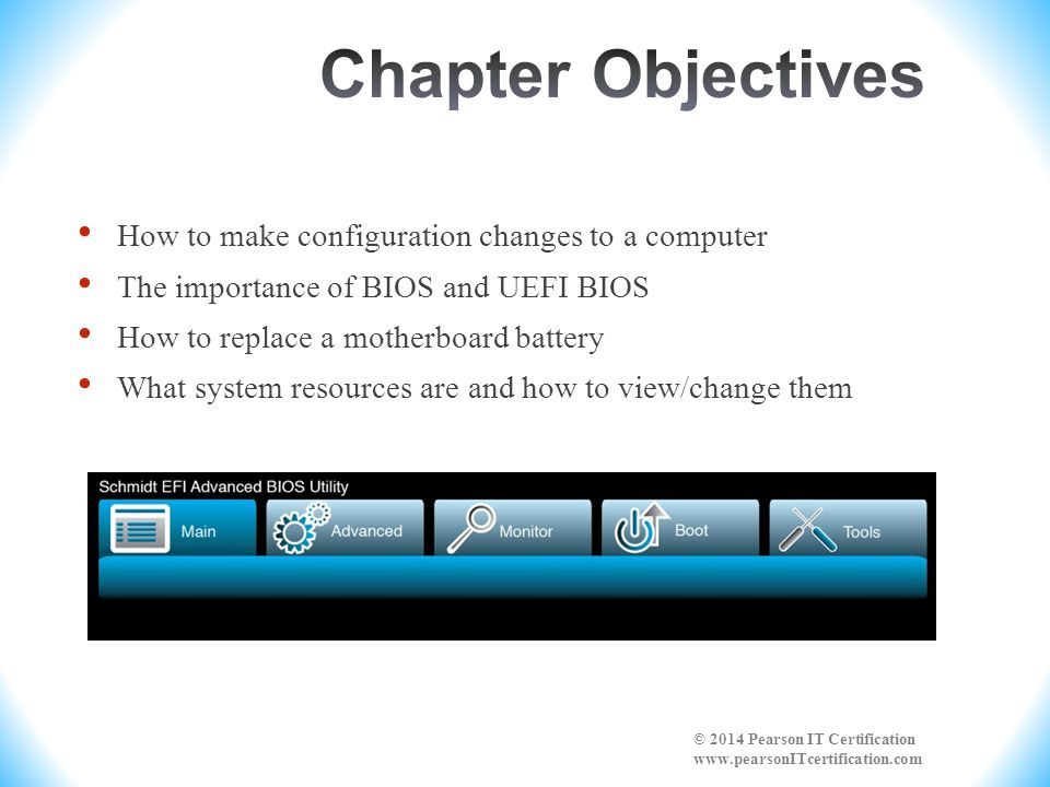 Chapter Objectives How to make configuration changes to a computer