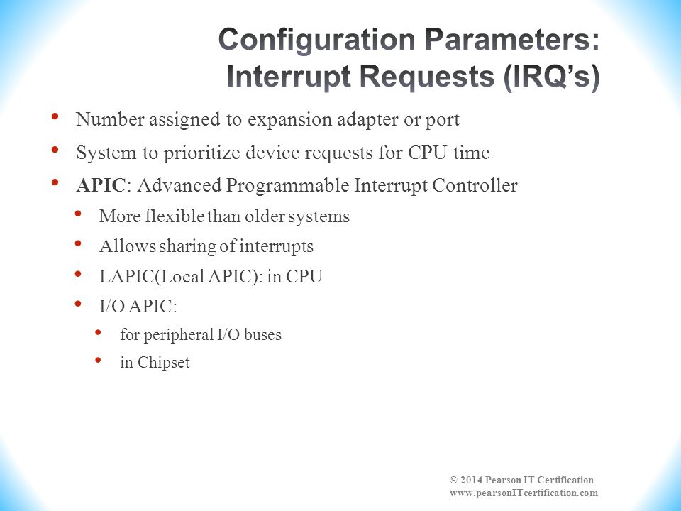 Configuration Parameters: Interrupt Requests (IRQ's)