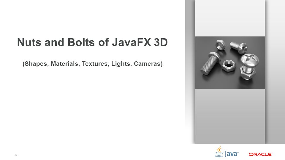 Nuts and Bolts of JavaFX 3D (Shapes, Materials, Textures, Lights, Cameras)
