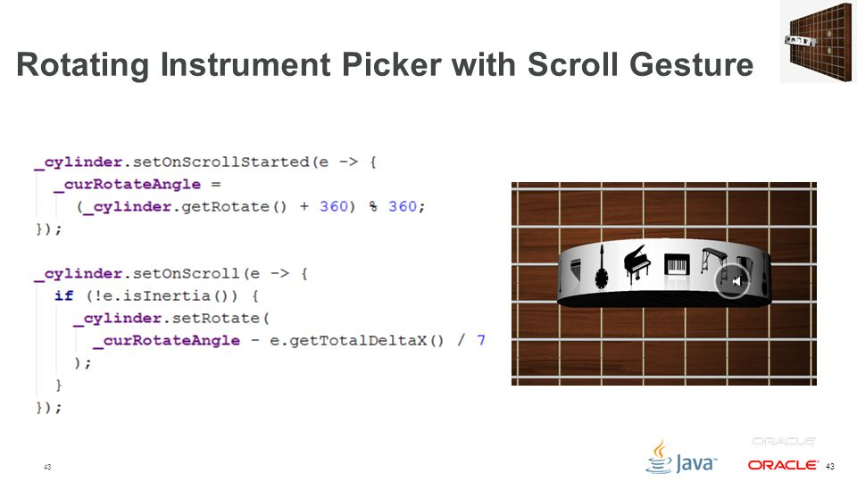 Rotating Instrument Picker with Scroll Gesture