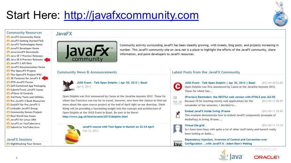 Start Here: http://javafxcommunity.com