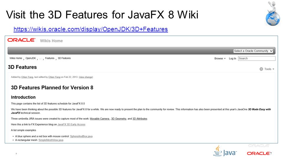 Visit the 3D Features for JavaFX 8 Wiki